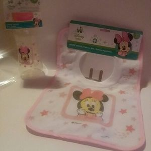 PINK DISNEY BABY BIB & BOTTLE SET